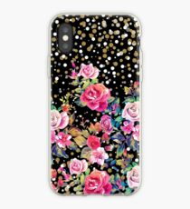 Modern watercolor spring floral and gold dots pattern iPhone Case