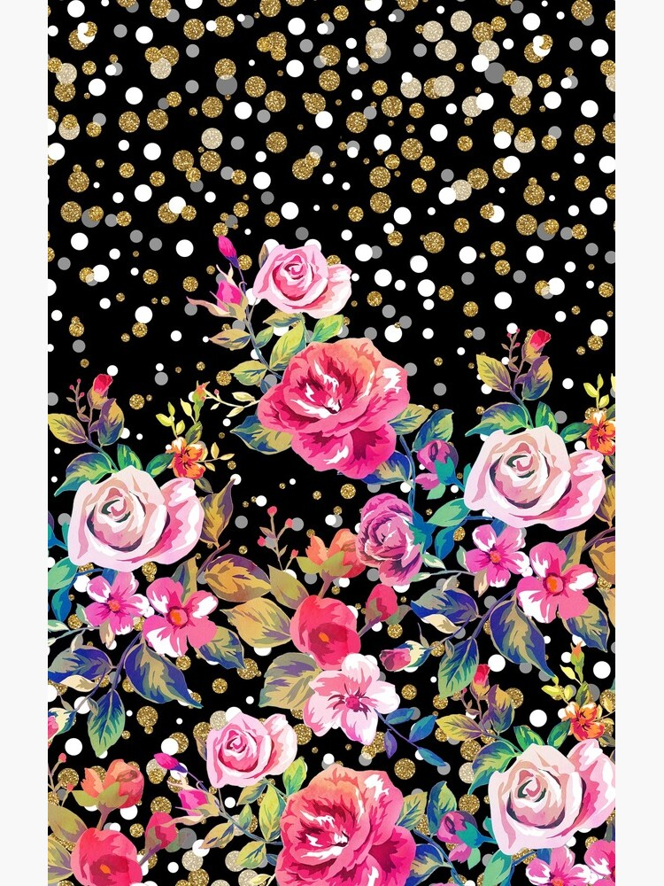 Modern watercolor spring floral and gold dots pattern by InovArtS