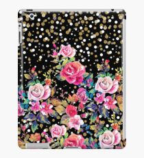 Modern watercolor spring floral and gold dots pattern iPad Case/Skin