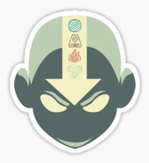 Aang's head with 4 elements Sticker