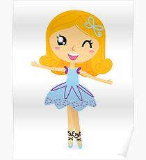 Cute dancing little ballerina girl. Vector cartoon Illustration Poster