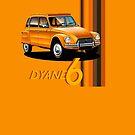 T-shirt Car Art - Orange Citroen Dyane by RJWautographics