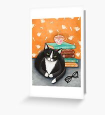 Tea, Books, and Cats Greeting Card