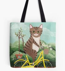 Earth Day Bicycle Ride Cat Tote Bag