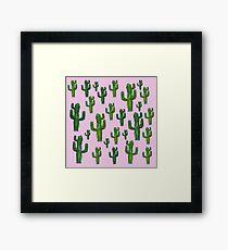 Pink Cactus Print Framed Print