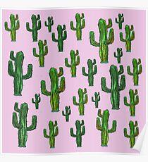 Pink Cactus Print Poster
