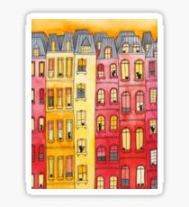 Sunset Townhouse Block Cats Sticker
