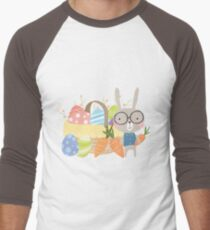 Easter Bunny With Basket of Colored Eggs Men's Baseball ¾ T-Shirt