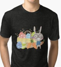 Easter Bunny With Basket of Colored Eggs Tri-blend T-Shirt