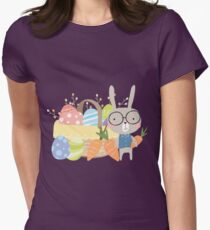 Easter Bunny With Basket of Colored Eggs Womens Fitted T-Shirt