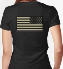 AMERICAN ARMY, Soldier, American Military, Arm Flag, US Military, IR, Infrared, USA, Flag Women's Fitted V-Neck T-Shirt