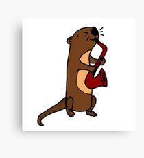 Hilarious Cool Otter Playing Saxophone Canvas Print