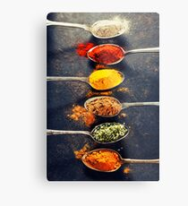 Colorful spices in metal spoons  Metal Print