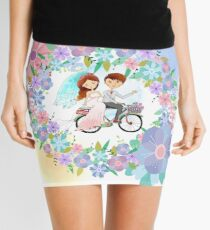 Bride and Groom on Bicycle Floral Wreath Wedding Mini Skirt