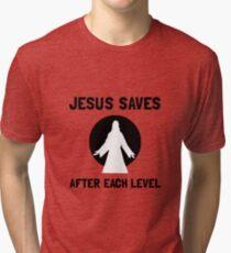Jesus Saves Level Tri-blend T-Shirt