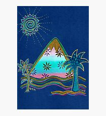 BLUE PARADISE MOUNTAIN with Palmtree and Flower Photographic Print