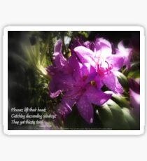 rhododendron with haiku Sticker