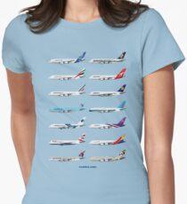 Camiseta entallada para mujer Ilustración de operadores Airbus A380 - versión azul