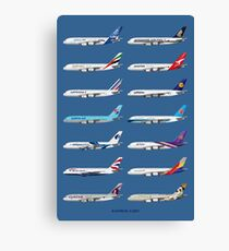 Airbus A380 Operators Illustration - Blue Version Canvas Print