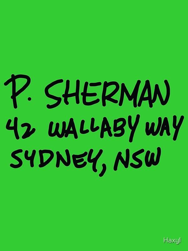 P Sherman 42 Wallaby Way Sydney