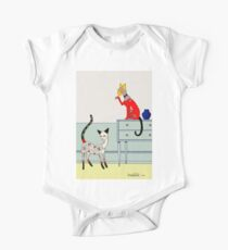 Fitzgerald and Elouise, Art Deco Cats One Piece - Short Sleeve