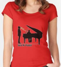 Suck My Pianist - with white line for darker colours - humour, funny Women's Fitted Scoop T-Shirt