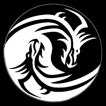 Yin & Yang dragons, black by cool-shirts