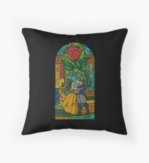Beauty and The Beast - Stained Glass Throw Pillow