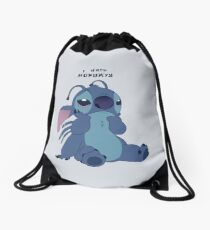 Stitch hates Mondays Drawstring Bag