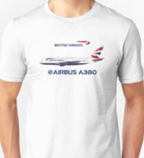 Illustration of British Airways Airbus A380 - White Version Unisex T-Shirt