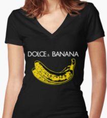 Dolce & Banana - Bananas Lovers Fruitarians Vegan Fashion  Tee / Sticker Women's Fitted V-Neck T-Shirt