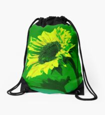 Burning Sunflower, Green. Drawstring Bag