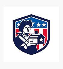 American Patriot Holding House Flag Crest Retro Photographic Print