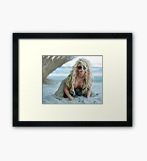 Gorgeous sexy blond on the beach Framed Print