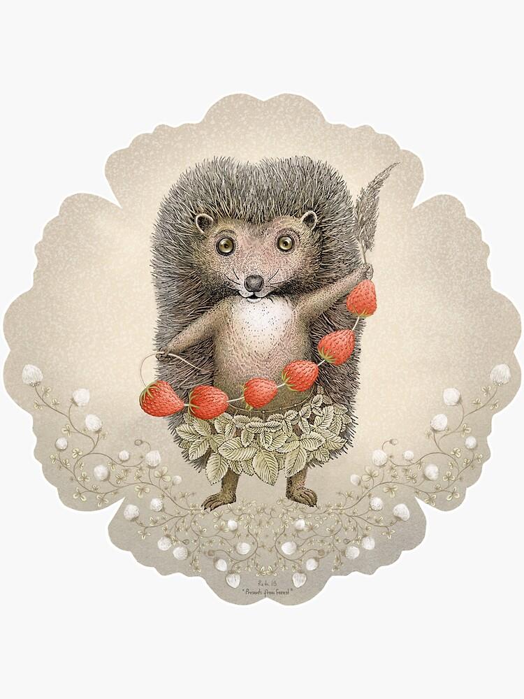 Animal Hedgehog Strawberry by Ruta