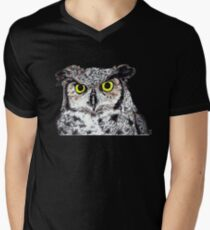 Owl with Yellow Eyes Mens V-Neck T-Shirt