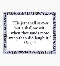His Jest Shall Savour - Shakespeare Photographic Print