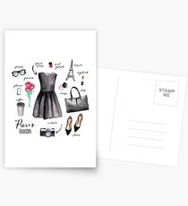 Paris style fashion illustrations Postcards