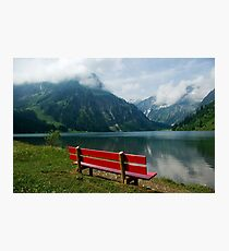 Red bench with a view Photographic Print