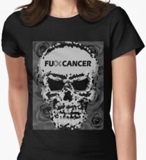 Fuck Cancer // Pixel Skull // Flowers  Women's Fitted T-Shirt