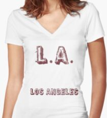 L.A: Los Angeles Women's Fitted V-Neck T-Shirt