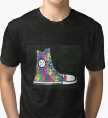 Pete the Cat Loves His Groovy Multi-Colored Shoes Tri-blend T-Shirt