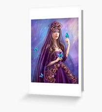 Beautiful woman fairy and blue butterflies.  Greeting Card