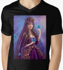 Beautiful woman fairy and blue butterflies.  T-Shirt