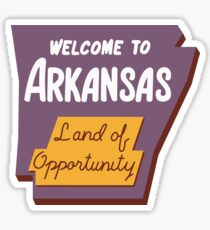 """Welcome to Arkansas, Land Of Opportunity"", Vintage Road Sign 60s, USA Sticker"