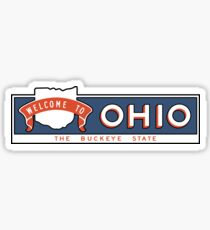 """Welcome to Ohio, The Buckeye State"", Vintage Road Sign 60s, USA Sticker"