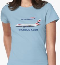 Illustration of British Airways Airbus A380 - Blue Version Womens Fitted T-Shirt