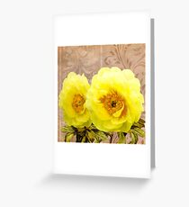 Butter yellow Peonies, floral art Greeting Card