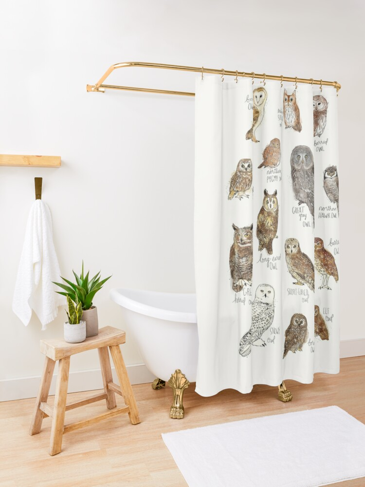 Alternate view of Owls Shower Curtain