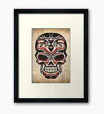 Aged and Worn Haida Native Skull Design Framed Print